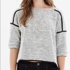 Madewell Gray and Back Crop Sweater